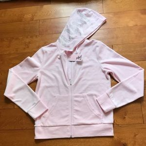 Juicy Couture rhinestone logo whisper pink hoodie